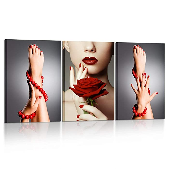 Kreative Arts 3 Piece Canvas Print Beauty Fashion Woman Portrait with Red Rose Flower Red Lips and Nails Wall Art Luxury Makeup and Manicure Poster Framed Art Work for Spa Salon Bathroom Walls Decor
