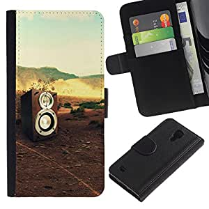 UberTech / Samsung Galaxy S4 IV I9500 / Speaker Music Sound Dj Nature Bass / Cuero PU Delgado caso Billetera cubierta Shell Armor Funda Case Cover Wallet Credit Card