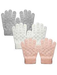EvridWear Boys Magic Stretch Gripper Gloves 3 Pair Assortment, One Size