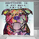 JillnJacks Pitbull Design Shower Curtains - Dean Russo Art