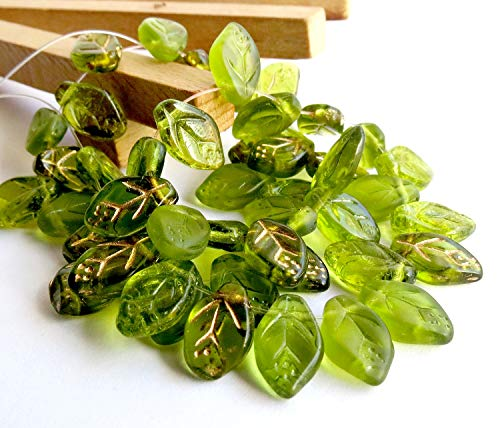 - 50 pcs Mix of Green Czech Glass Leaf Beads 12mm