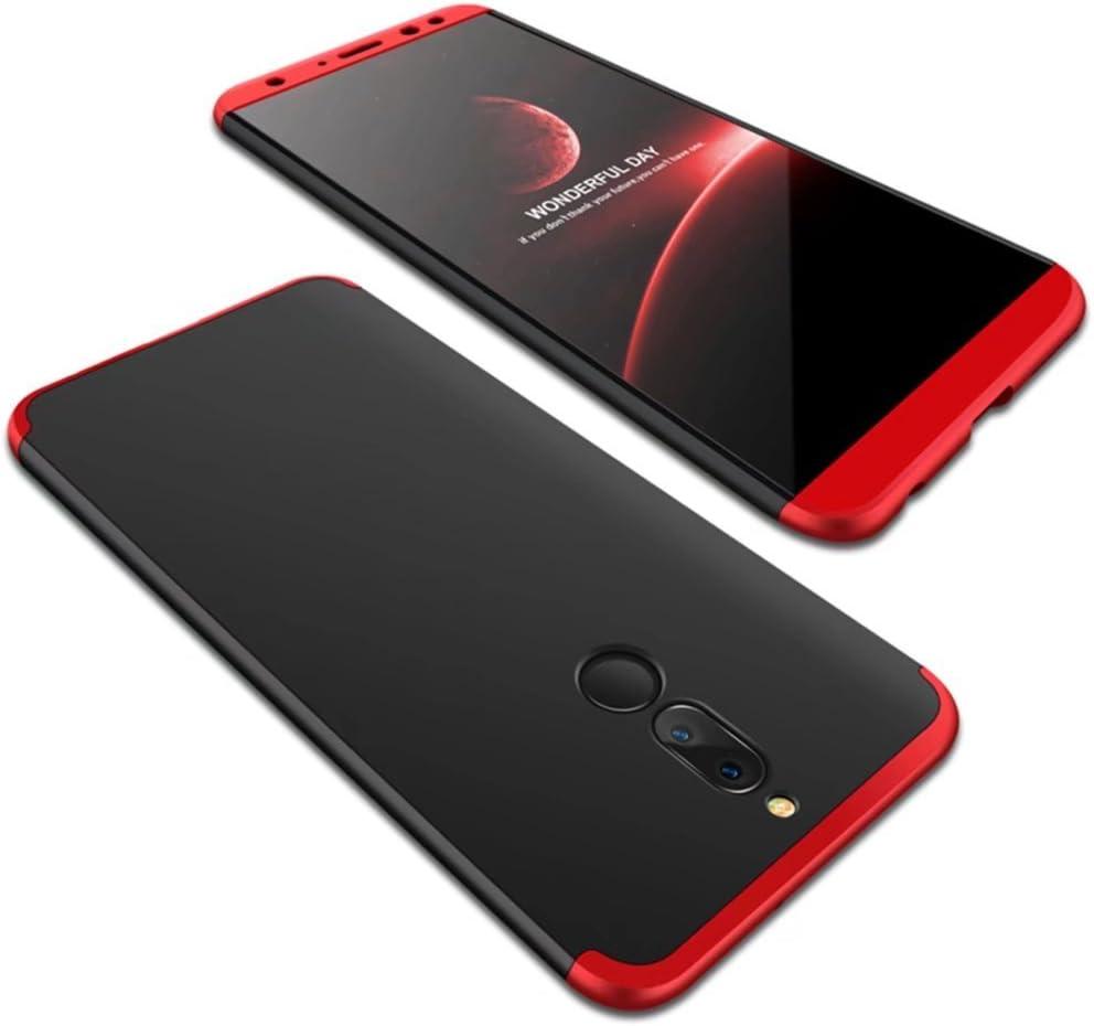 Caso del compañero grados Huawei Lite TXLING 10 360 completa Protección del cuerpo [Ultra Thin] choque arañazos en 3 1 estilo PC Hard Case cubierta protectora parachoques trasero para Huawei Lite compañero 10 / Negro Rojo