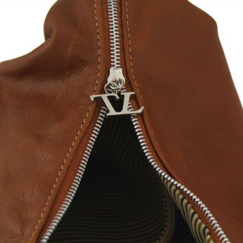 Tuscany Leather Yvette Bolso en piel para mujer Cognac Bolsos de asa larga Marrón topo oscuro