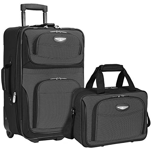 Travelers Choice Travel Select Amsterdam Two Piece Carry-on Luggage Set, Gray ()