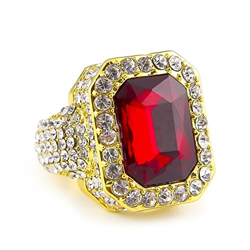 HongBoom Hot Hip Hop Rings 18K Gold Silver Plated CZ CRYSTAL Fully Iced-Out CUBAN Ruby Ring (Gold /US size 9) 14k Gold Camera Pendant
