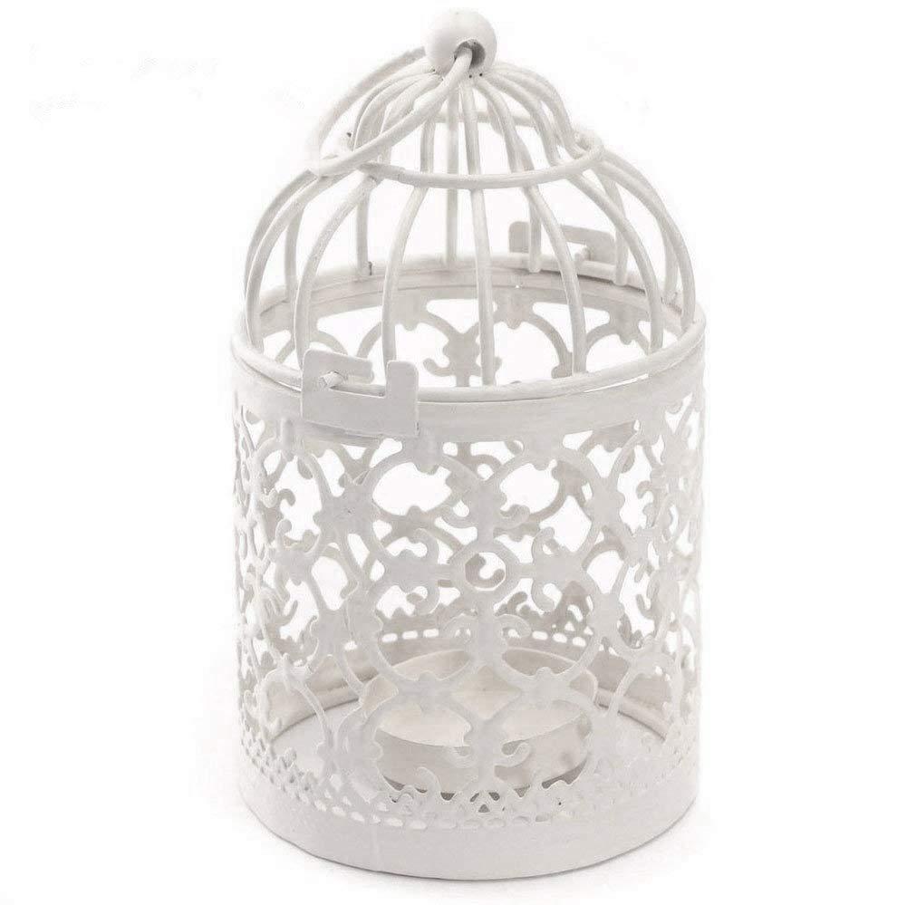 Wdoit M/étal Blanc Creative D/écoration Cage /à oiseaux Bougeoir europ/éens et am/éricains Style Bougeoir Mariage D/écoration de la Maison