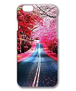 iCustomonline Case for Samsung galaxy S6 PC, Red Woods Road Plastic Premium Clear Colorful Ultimate Protection Protector Hard Ultra Flexible Case for iPhone 6 (4.7 inch) 3D