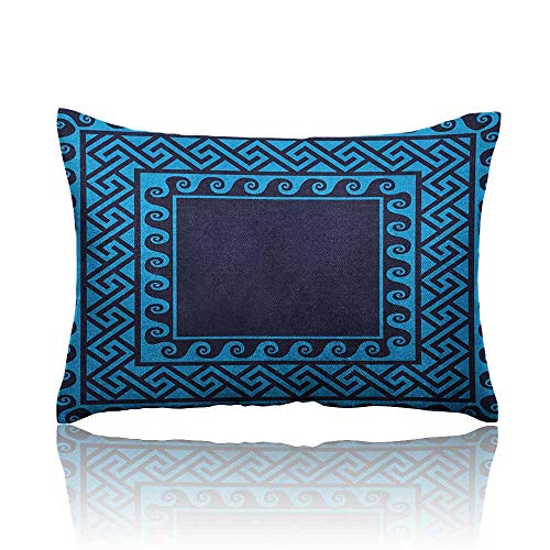 Anyangeight Greek Key Mini Pillowcase Swirling Waves with Ancient Maze Square Hellenic Motifs Sea Inspired Design Fun Pillowcase 20