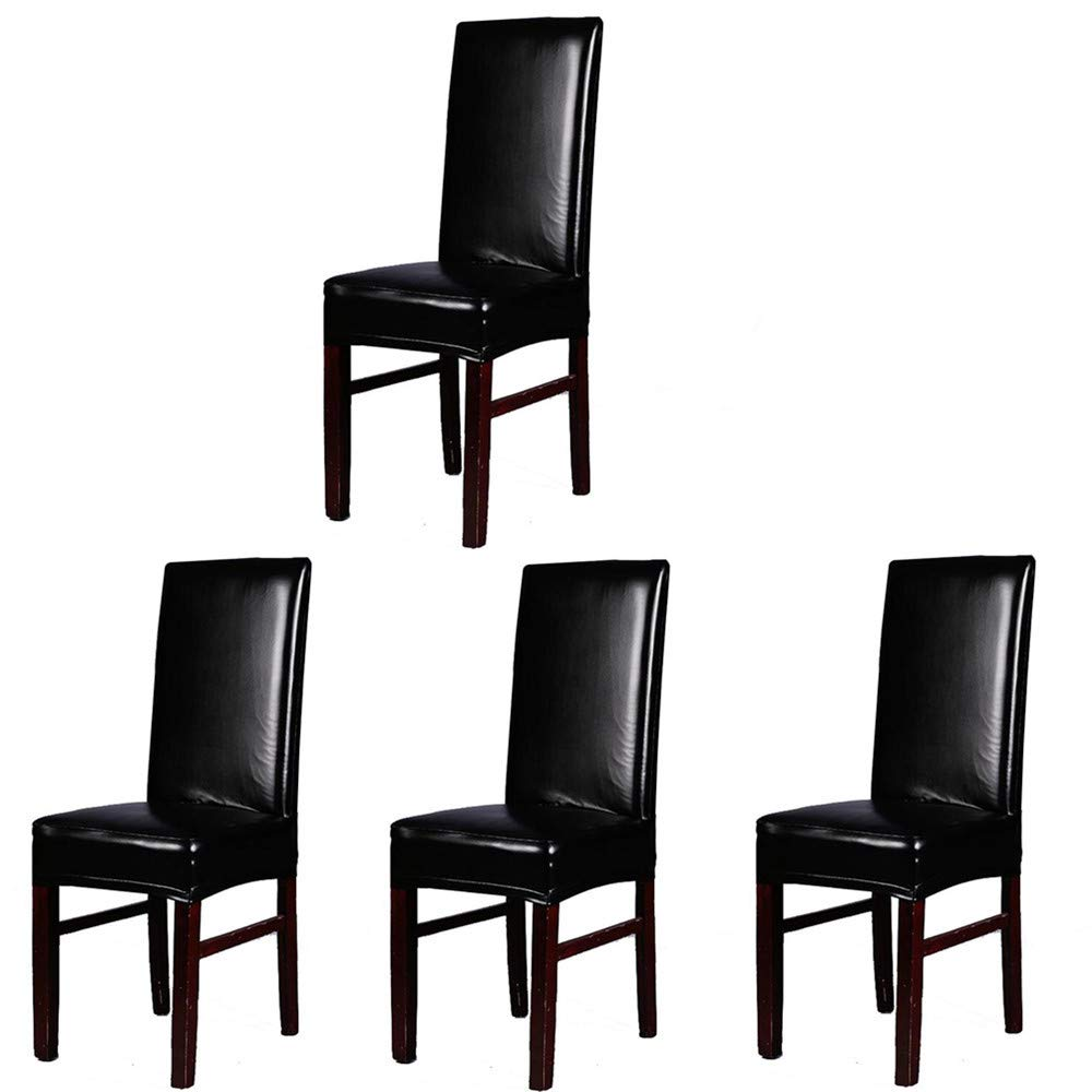 iEventStar PU Faux Leather Stretch Dining Chair Cover Chair Protector Slipcover (Black, 4) by iEventStar