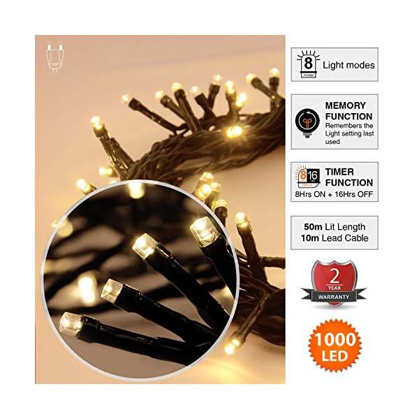 ANSIO Luci natalizie Luci natalizie esterne 1000 LED 10 m bianco caldo interno Catena luminosa interna Funzione memoria albero di Natale, alimentazione elettrica Lunghezza illuminata 50 m - Cavo verde 3 spesavip