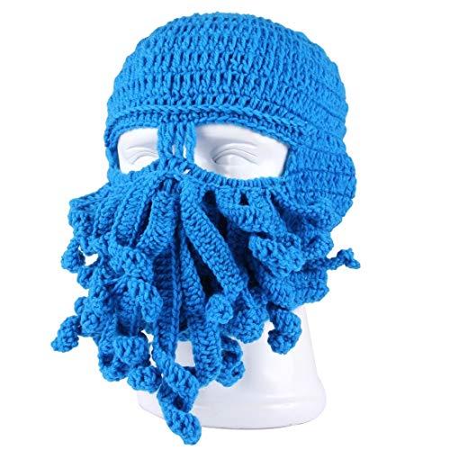 Professional Gloves Winter Warm Unisex Women Men Beanie Knit Cap Toque Bonnet Funny Octopus Crochet Hat Safety Tool Supplies (Color : Blue) ()