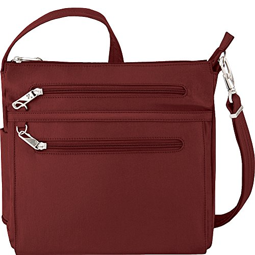 Travelon Anti-Theft Essential North/South Bag - Small Nylon Crossbody for Travel & Everyday - (Wine/Gray Interior)