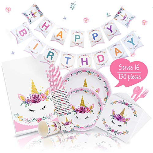 Joyful Toys Unicorn Party Supplies - Birthday Decorations Set & Tableware Kit Happy Birthday Banner | Plates | Cups | Napkins | Tablecloth | Forks | Knives | Serves 16]()