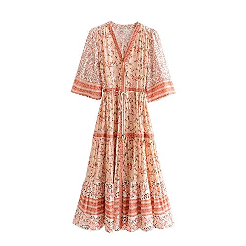 Vintage Floral Print Pleated Dress Women 2019 Fashion V Neck Slit Sleeve Lace Up Beach Dresses, M (Slumber Party Ideas For 9 Year Olds)