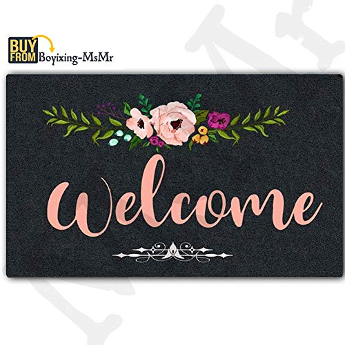 MsMr Door Mat Entrance Mat Welcome Flowers Non-Slip Doormat 23.6 by 15.7 Inch Machine Washable Non-Woven Fabric ()