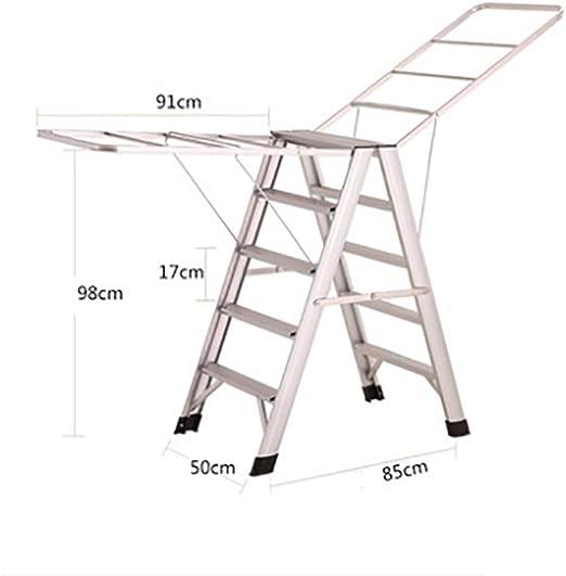 NICOLAS Escalera Plegable De Aluminio Multifuncional, Rejilla De Secado Bastidor, Balcón, Secado Escalera De Doble Uso Escalera De ala De Casa (Color : Silver, Size : Standard Edition): Amazon.es: Hogar