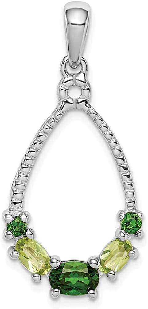 925 Sterling Silver Rhod-plat Chrome Diopside and Peridot Pendant