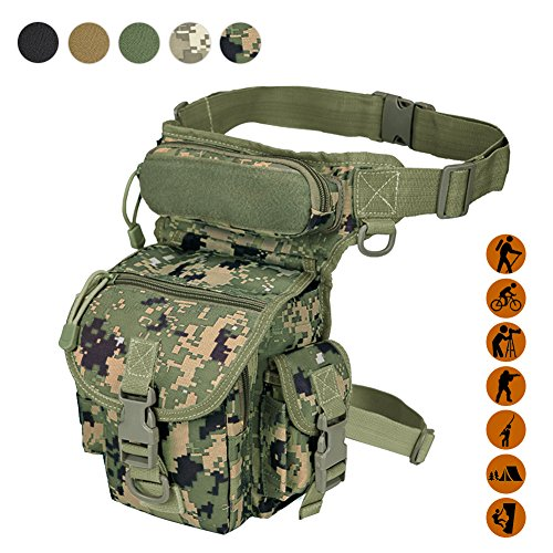 Military Jungle (Military Tactical Drop Leg Bag Tool Fanny Thigh Pack Leg Rig Utility Pouch Paintball Airsoft Motorcycle Riding Thermite Versipack, Jungle Camouflage)