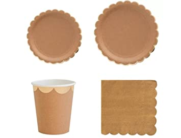Princess Deluxe Party Supply Tableware Sets Kraft Paper Party Plates - Large Plates  sc 1 st  Amazon.com & Amazon.com: Flower.Princess Deluxe Party Supply Tableware Sets Kraft ...