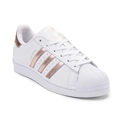 adidas Originals Women's Superstar W Fashion Sneaker (Womens 8.5, White/RoseGold2/GoldLabel)