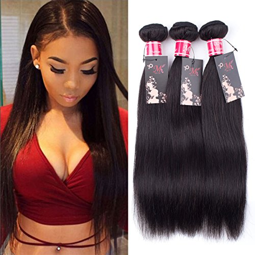 Brazilian Virgin Hair Straight Human Hair Weaving 3 Bundles Unprocessed Straight Virgin Hair Extensions Narural Color (12 14 16)