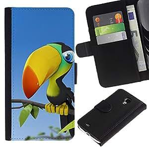 KingStore / Leather Etui en cuir / Samsung Galaxy S4 Mini i9190 / Loro Selva Pájaro colorido pico grande