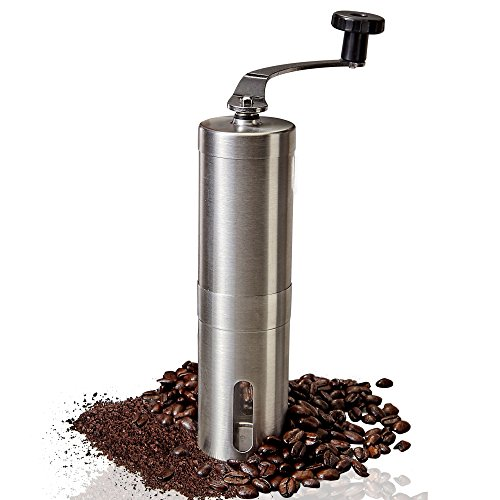 Manual Coffee Grinder - Adjustable Ceramic Conical Burr Coffee Bean Mill With Stainless Steel Body & Easy Hand Crank, Brewing Grinders for Office Home, Traveling Camping Consistent Grind French Press