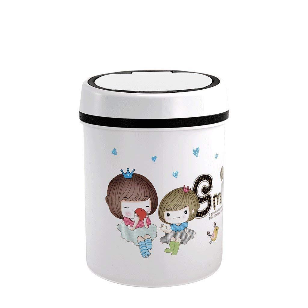 JJD 室内環境ゴミ箱自動誘導ゴミ箱ホームスマートカバープラスチックゴミ箱寝室リビングルームバスルームゴミ箱 (Color : 白)  白 B07R8JT6HG