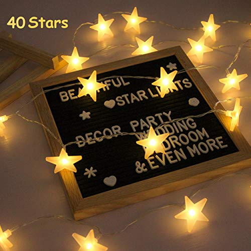 Star String Lights, Battery Powered, 40 Warm White Twinkle Stars, Indoor and Outdoor Decoration for Kids Room, Bedroom, Wall, Teepee Tent, Wedding, Birthday, Holidays, Party, Christmas, 16.4 FT ()