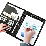 Portfolio Folder-BEAMIO A4 PU Leather File Folders with Calculator Multifunction Office Supplies Organizer Manager Writing Pads Legal Paper Contract