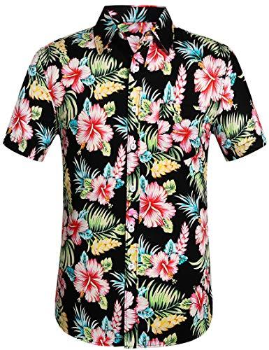 b94ad92db Leisurely Pace Men's Hawaiian Aloha Shirt Short Sleeve Tropical Floral  Print Button Down Shirt