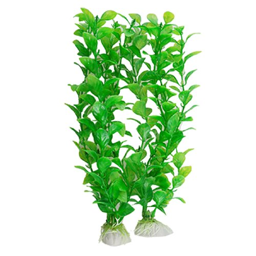 Uxcell 2-Piece Plastic Bacopa Monnieri Aquarium Ornement Set with Base, Green