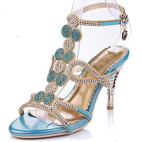 Xing Lin Sandalias De Cuero Rhinestone Crystal Sandalias Zapatos Zapatos De Tacón Sandalias Zapatos Zapatos Romano Marea Princesa Lake blue