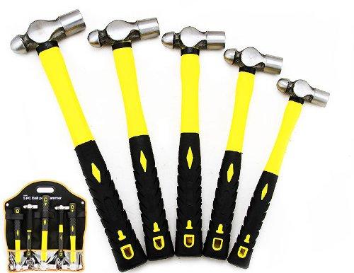 5 Pc Mechanic`s Ball Pein Peen Hammer W/handles New Unbreakable Hd Construction