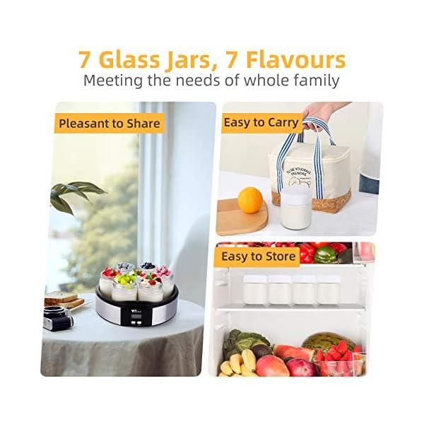 Amzdeal Yogurtiera- Yogurtiera Elettrica con Display LCD e 7 Barattoli di Vetro da 200 ml, Timer di Spegnimento… 4