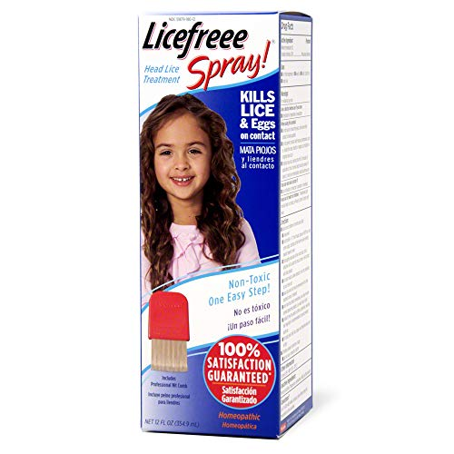 Treatment Non Toxic Lice (Licefreee Head Lice Spray - Lice Treatment for Kids and Adults - Kills Lice and Eggs on Contact - Includes Professional Metal Nit and Lice Comb - Family Size - 12 Oz)