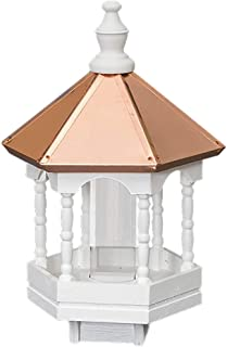 "product image for Saving Shepherd 22"" Copper TOP Bird Feeder - 14 in. Round Gazebo with Spindle Columns Amish Handcrafted in Lancaster Pennsylvania USA"