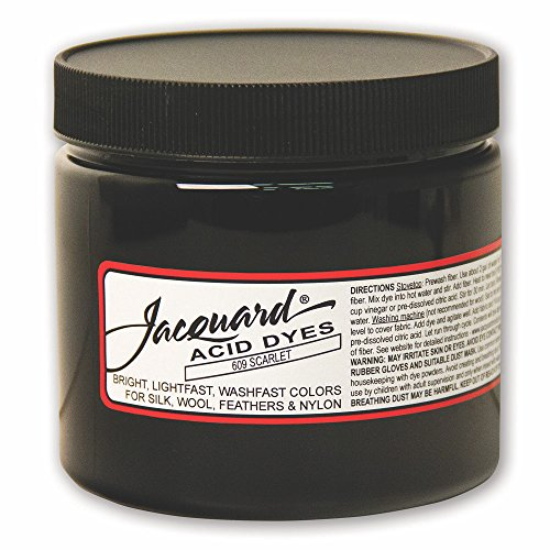Jacquard Acid Dye for Wool, Silk and Other Protein Fibers, 8 Ounce Jar, Concentrated Powder, Scarlet ()
