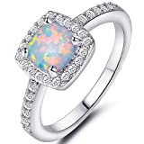 Princess Cut Created Fire Opal Engagement Ring (Silver, 8)