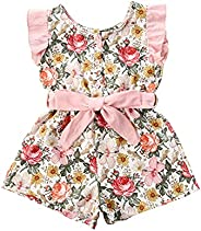 OFIMAN Toddler Girls Floral Sleeveless Rompers Little Girl Bow Outfit Size 1-5T