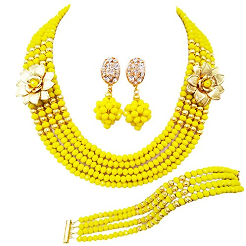 laanc 5 Rows Multicolors African Beads Jewelry Set,nigerian Wedding Beads Jewellery Sets A-022A (Opaque ()