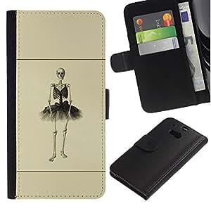 Stuss Case / Funda Carcasa PU de Cuero - Esqueleto de la bailarina - HTC One M8