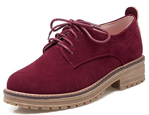 Cheap IDIFU Women's Classic Low Chunky Heel Platform Low Top Lace Up Oxfords Shoes Wine Red 8 B(M) US