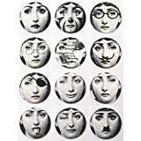 12 Pcs Italian Fornasetti Refrigerator Fridge Magnets Pretty Woman Art Portrait Design Gift Packing Birthday Gift Home Deco