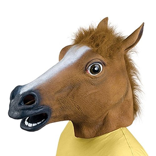 [Halloween Horse Head Mask Latex Animal Party Costume Cosplay Prop Unicorn Zoo Toys] (Flash Drive Costume)