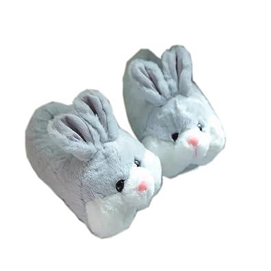 YGJT Damen Frauen Süß Plüsch Häschen Indoor Flache Slip-On Hausschuhe für Erwachsene und Kinder 36-39 EU Grau JyGgy