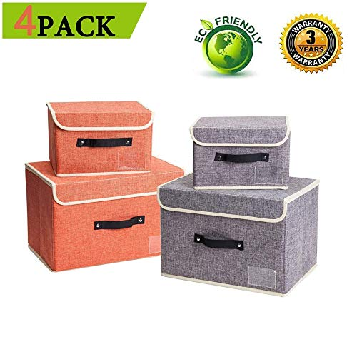 Janes Home 4 Pack Storage Bins Boxes Linen Collapsible Cube Set Organizer Basket with Lid & Handle, Foldable Fabric Containers for Clothes, Toys, Closet, Office, Nursery (Grey and Orange)