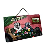 Home of Great Danes 4 Dogs Playing Poker Photo Slate Hanging