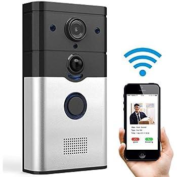 Video Doorbell, Smart Doorbell Fnova Wifi 720P HD Camera 2-Way Audio Intercom Doorbell with Infrared Night Vision Real-Time Video and Talk Compatible with IOS and Android, Video Intercom System