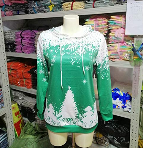 shirt Maniche Con Cappuccio Natalizia Femminile Lunghe nbsp;t Green Stampa A Yuch aUq5WBnU